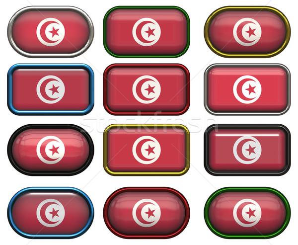 12 ボタン フラグ チュニジア 12 ストックフォト © clearviewstock