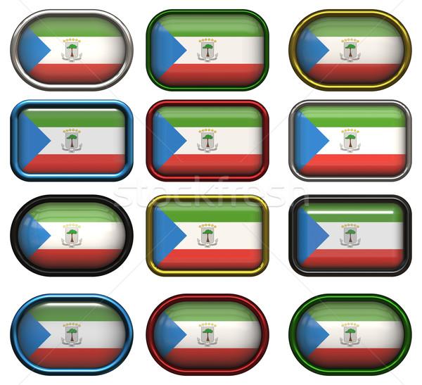 Doze botões bandeira Guiné Equatorial Foto stock © clearviewstock