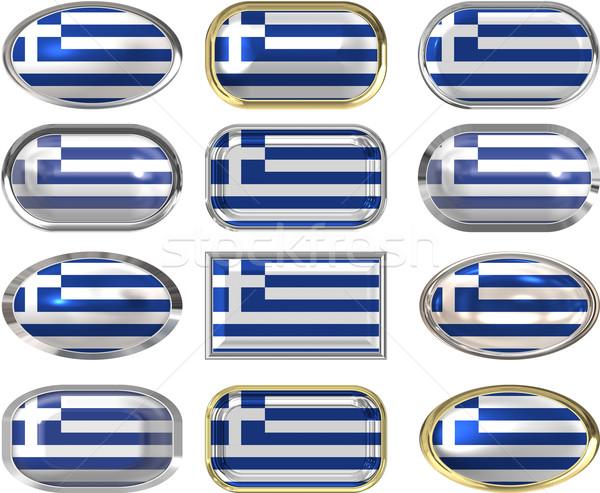 Dodici pulsanti bandiera Grecia Foto d'archivio © clearviewstock