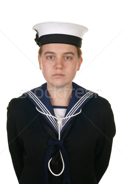 female sailor in navy isolated white Stock photo © clearviewstock