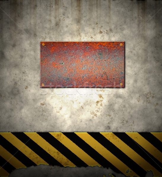 old hazard wall with plaque Stock photo © clearviewstock