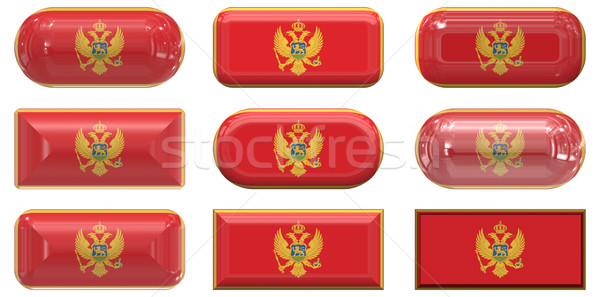 Dziewięć szkła przyciski banderą Czarnogóra Zdjęcia stock © clearviewstock