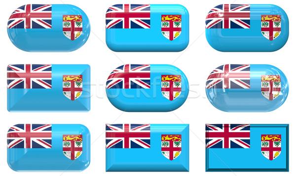 Kilenc üveg gombok zászló Fidzsi-szigetek Stock fotó © clearviewstock