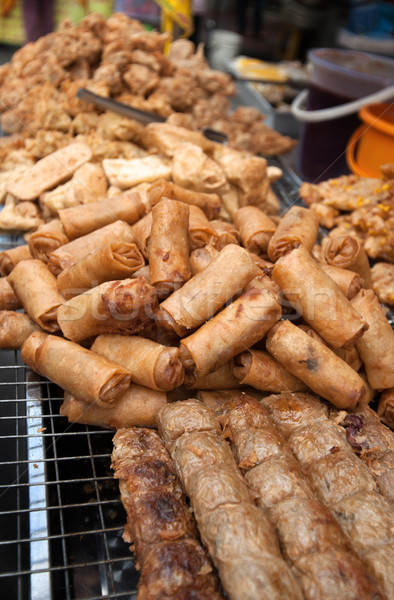 Mély sült tavasz tekercsek utcai étel Bangkok Stock fotó © clearviewstock