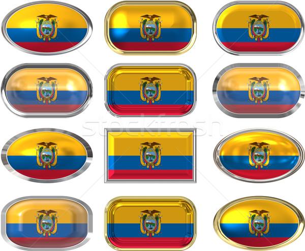 Tizenkettő gombok zászló Ecuador Stock fotó © clearviewstock