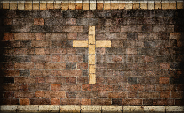 Christian cross muro di mattoni immagine Pasqua Foto d'archivio © clearviewstock
