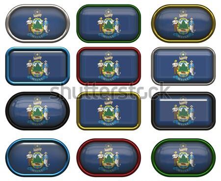 12 botões bandeira Oklahoma doze Foto stock © clearviewstock