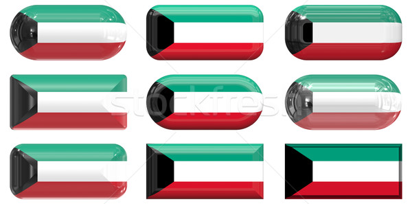 Nove vidro botões bandeira Kuweit Foto stock © clearviewstock