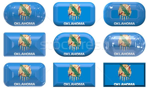 Neuf verre boutons pavillon Oklahoma Photo stock © clearviewstock