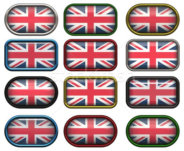12 pulsanti bandiera Regno Unito dodici Foto d'archivio © clearviewstock