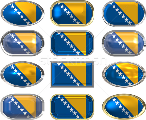 twelve buttons of the Flag of Bosnia Stock photo © clearviewstock