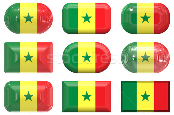 nine glass buttons of the Flag of Senegal Stock photo © clearviewstock