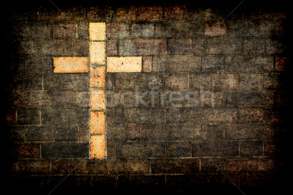 cross of christ built into a brick wall Stock photo © clearviewstock