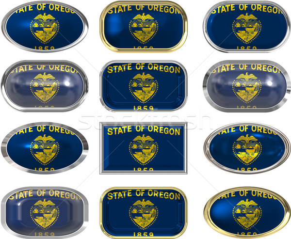 Stock photo: 12 buttons of the Flag of Oregon