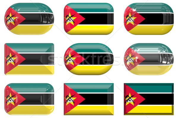 nine glass buttons of the Flag of Mozambique Stock photo © clearviewstock