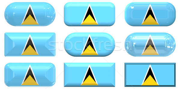 nine glass buttons of the Flag of Saint Lucia Stock photo © clearviewstock