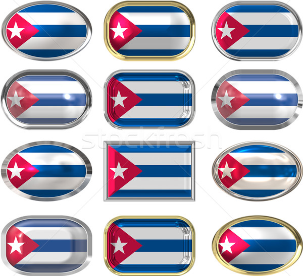 twelve buttons of the Flag of Cuba Stock photo © clearviewstock