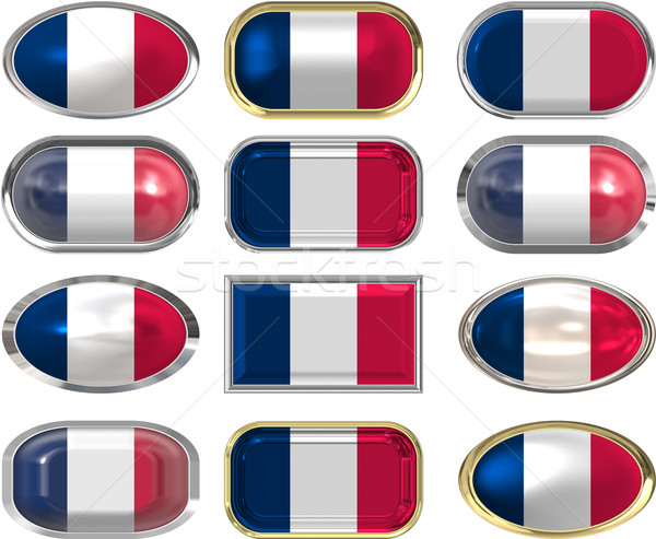 Doze botões bandeira França Foto stock © clearviewstock