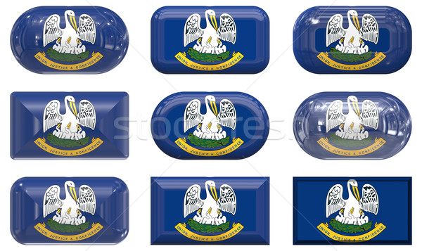 nine glass buttons of the Flag of Louisiana Stock photo © clearviewstock