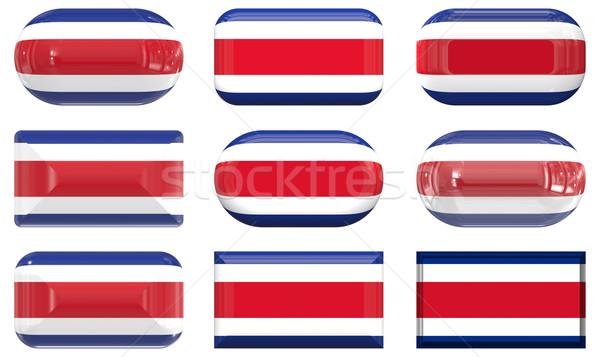 Kilenc üveg gombok zászló Costa Rica Stock fotó © clearviewstock