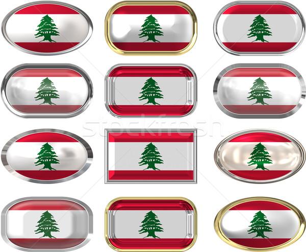 12 knoppen vlag Libanon twaalf groot Stockfoto © clearviewstock
