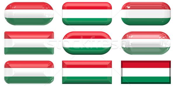 Dziewięć szkła przyciski banderą Węgry Zdjęcia stock © clearviewstock