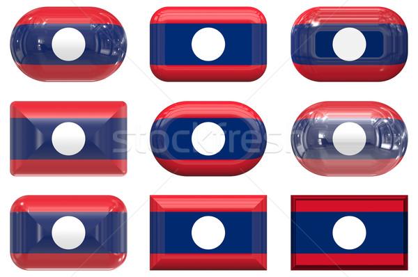 Negen glas knoppen vlag Laos Stockfoto © clearviewstock