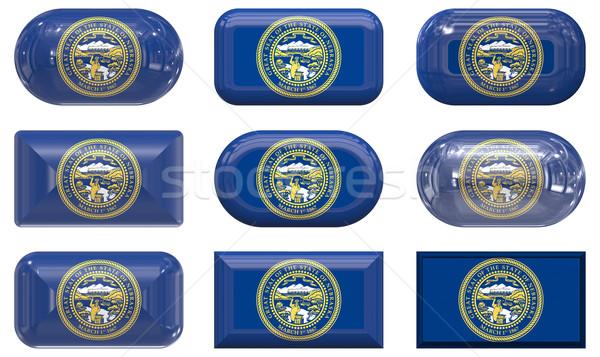 Nove vidro botões bandeira Nebraska Foto stock © clearviewstock