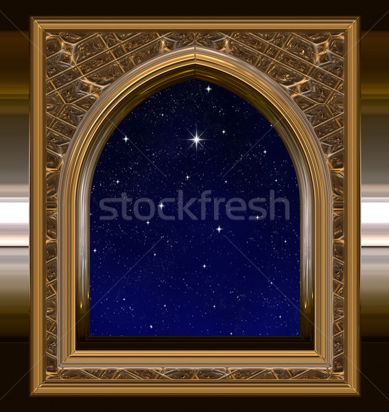 window looking out to night sky with wishing star Stock photo © clearviewstock