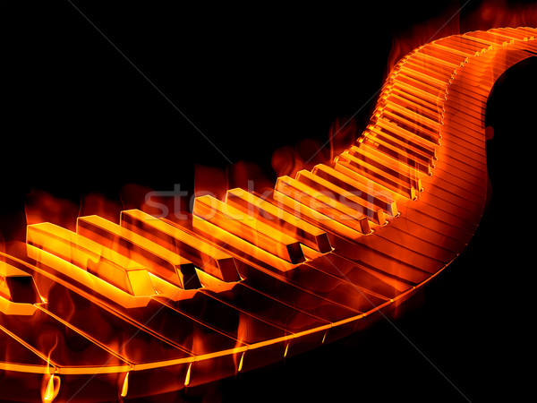 Clavier feu magnifique image touches de piano Photo stock © clearviewstock