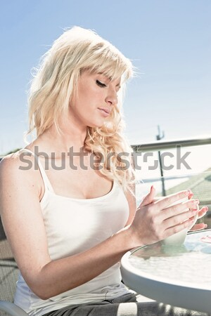 high key woman wine and dessert Stock photo © clearviewstock