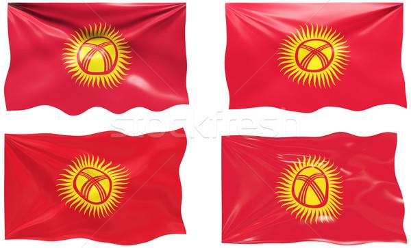 Bayrak Kırgızistan muhteşem görüntü Stok fotoğraf © clearviewstock