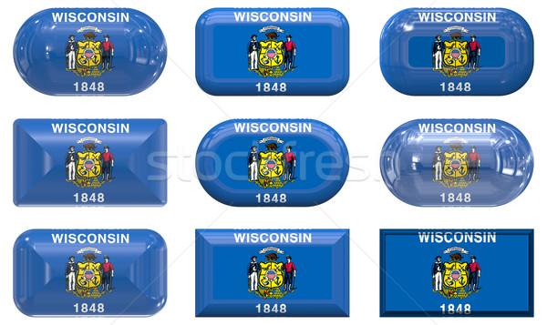 Dokuz cam düğmeler bayrak Wisconsin Stok fotoğraf © clearviewstock