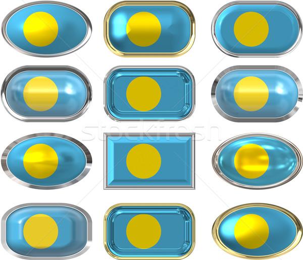 12 ボタン フラグ パラオ 背景 ストックフォト © clearviewstock