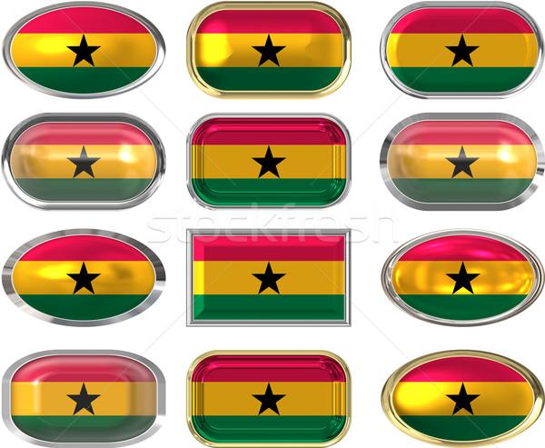 Doze botões bandeira Gana Foto stock © clearviewstock