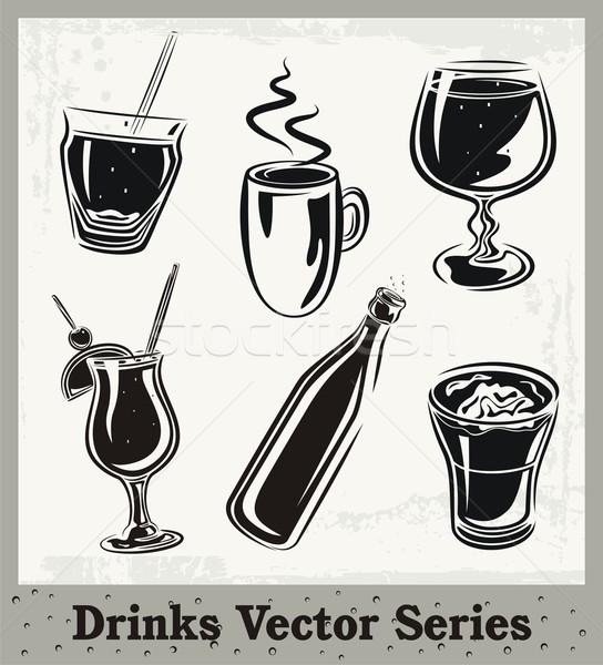 вектора набор пить напиток черно белые Сток-фото © clipart_design