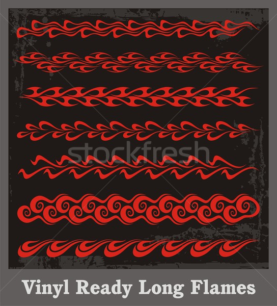 Vinyl ready long flames. Vector graphics, great for decals, stickers and borders. Stock photo © clipart_design