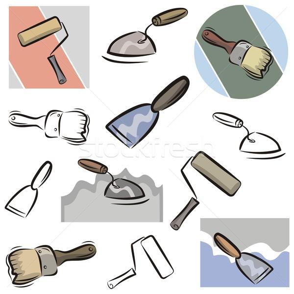 Vector icon schilderij tools ingesteld iconen Stockfoto © clipart_design