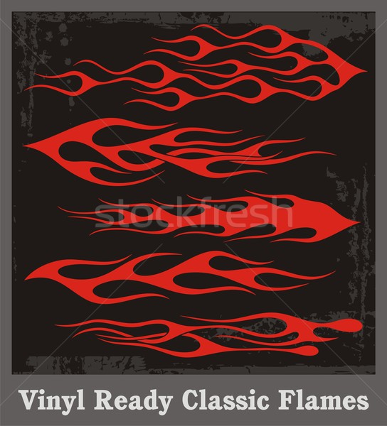 Vinyl ready vector flames in classic style. Great for car and motorbike decals and stickers. Stock photo © clipart_design