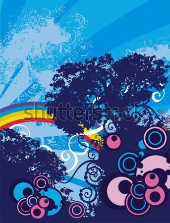 Vektor grunge fa sziluettek sziluett fa Stock fotó © clipart_design