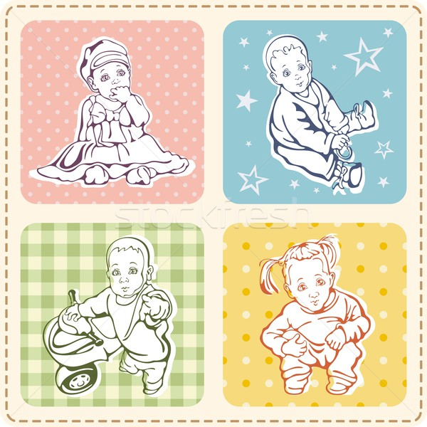 Vector set of cute baby illustrations and kid patterns. Stock photo © clipart_design