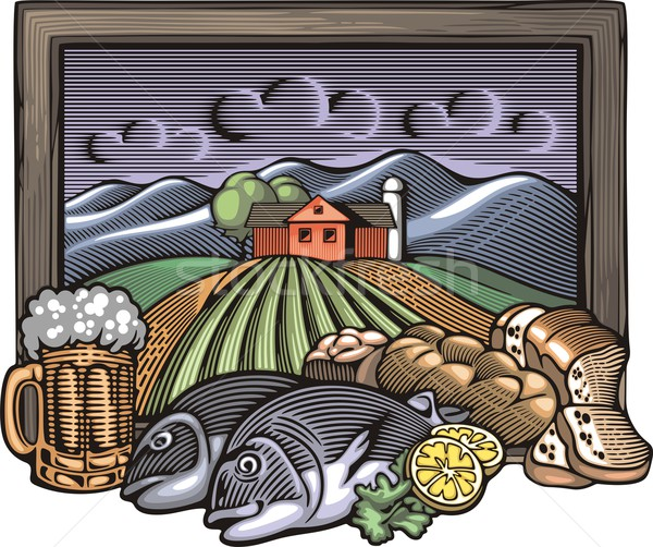 Vector illustration of a farm and abundance of delicious homemade food. Done in retro woodcut style. Stock photo © clipart_design