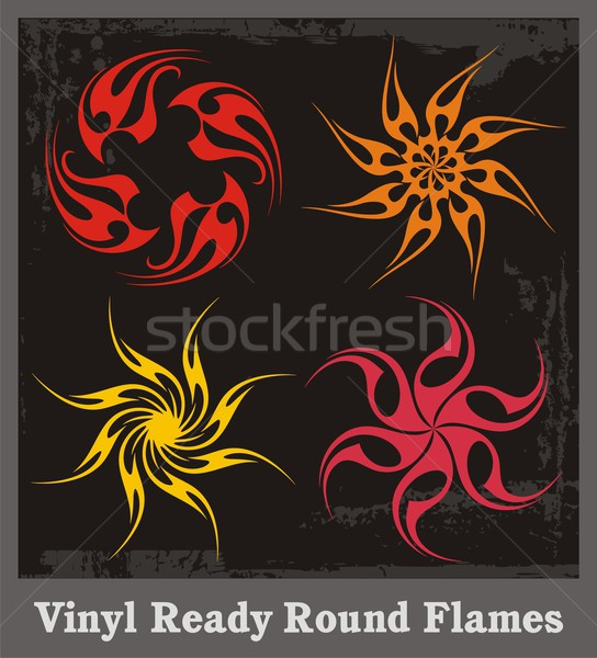 Vinyl ready vector flames in round shape. Great for decals and stickers. Stock photo © clipart_design