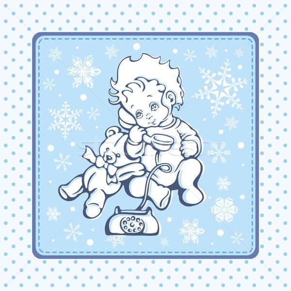 Aranyos baba tél minta arc szemek Stock fotó © clipart_design