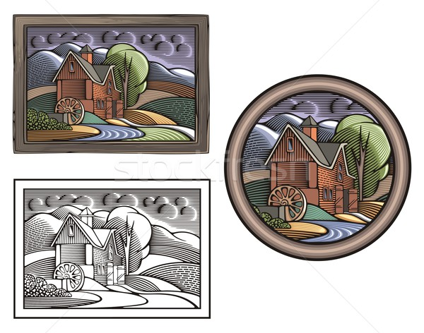 Vector illustration of a farm with a watermill, done in retro woodcut style. Stock photo © clipart_design