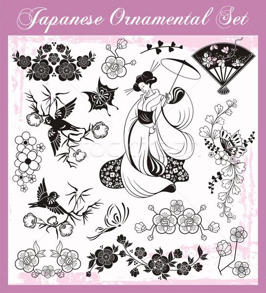 Vector ingesteld traditioneel japans ornamenten Stockfoto © clipart_design