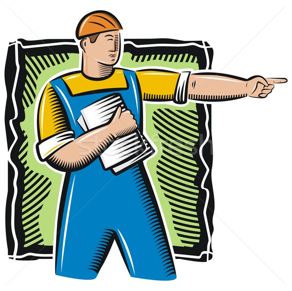 Vector illustration of a construction worker, holding blueprints. Stock photo © clipart_design