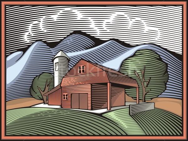 çiftlik alanları dağlar Retro stil Stok fotoğraf © clipart_design