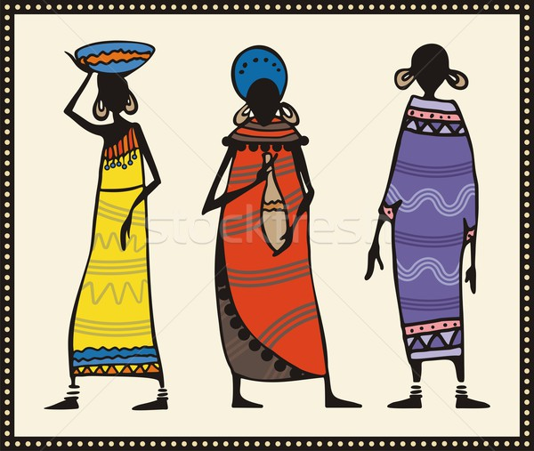Vector set of African women in traditional clothing. Stock photo © clipart_design