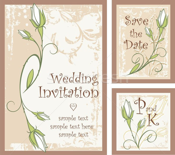Vector set of ornamental invitation designs with rose buds. Great for wedding invitations. Stock photo © clipart_design